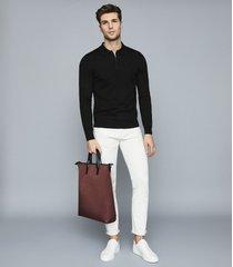 reiss robertson - merino wool zip neck polo shirt in black, mens, size xxl