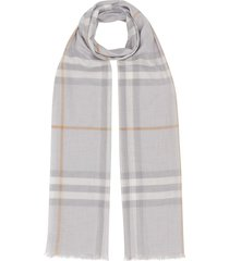 burberry lightweight check wool silk scarf - grey