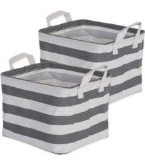 design imports polyethylene coated cotton polyester laundry bin stripe rectangle extra small set of 2