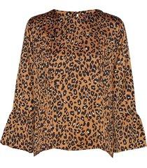 abigail leo blouse lange mouwen bruin line of oslo