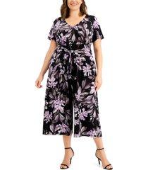 connected plus size floral-print front-tie jumpsuit