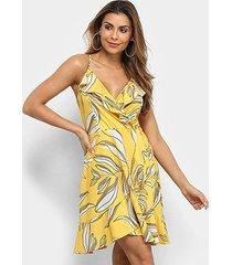 vestido curto carmim tropical babado