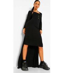 midi jurk met knoop detail en duster jas set, black