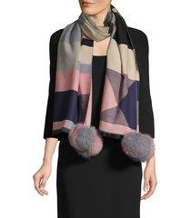 la fiorentina women's dyed fox fur-trim geometric scarf - fuchsia multi