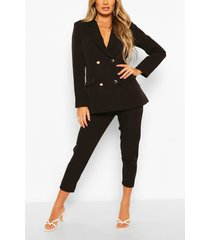 double breasted blazer & trouser suit set, black