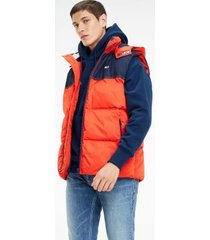 tommy hilfiger men's mixed media hooded vest flame scarlet / dark indigo - s