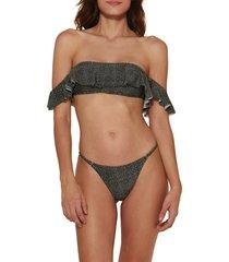 women's vix swimwear dion natalie off the shoulder bandeau bikini top, size medium - grey