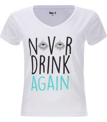 camiseta descanso never drink color blanco, talla l