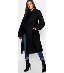 maternity wrap pocket front coat, black