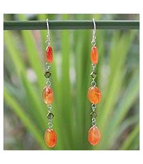 carnelian dangle earrings, 'orange marmalade' (thailand)