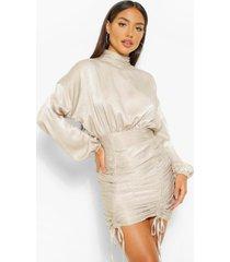 mini jurk met hoge hals en ruches, zilver