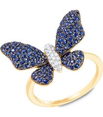 14k yellow gold, sapphire & diamond butterfly ring