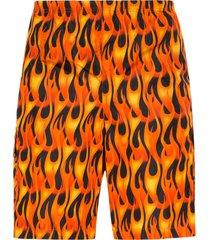 palm angels flames print swimshorts - orange