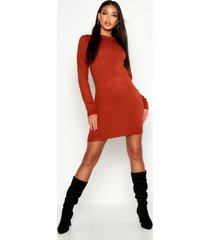 crew neck long sleeve dress, ginger