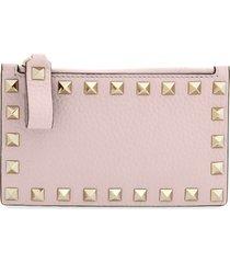 women's valentino garavani rockstud leather zip card case - pink