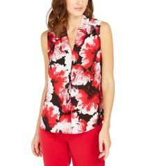 nine west floral-print v-neck top
