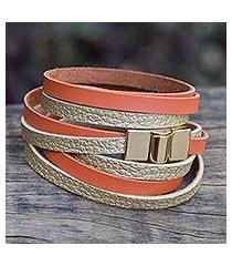 gold accent wrap bracelet, 'golden orange parallels' (brazil)