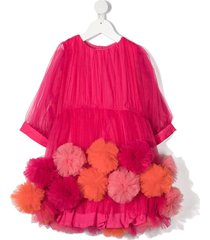 raspberry plum pompom-embellished dress - pink