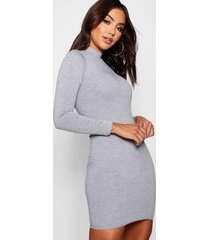 high neck bodycon dress, grey marl
