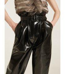 motivi pantaloni paperbag in vinile donna nero