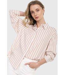 camisa blanco-beige mng