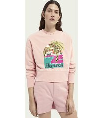 scotch & soda cropped & embroidered sweater