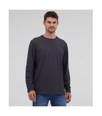 camiseta comfort em algodão peruano manga longa básica | marfinno | cinza | gg