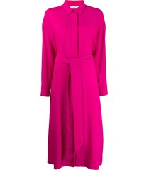 ami shirt collar belted jumpsuit - pink