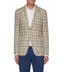 cortina' notch lapel check silk wool blazer