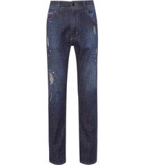 calça masculina jeans dark respingos - azul