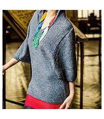 alpaca blend hoodie sweater, 'gray trujillo lady' (peru)