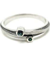 pierścionek srebrny z topazem i szmaragdem