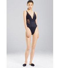 sleek bodysuit, women's, black, silk, size s, josie natori