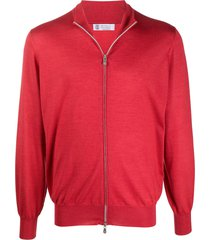 brunello cucinelli fine knit zip-up sweater - red