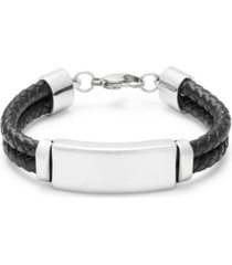 men's black double leather bracelet