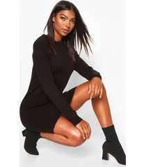 tall crew neck long sleeve dress, black
