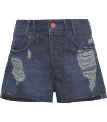 short feminina jeans cós - azul