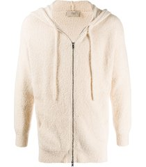 maison flaneur shearling zipped hoodie - neutrals