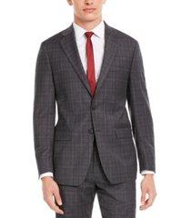 calvin klein men's x slim-fit stretch gray/burgundy plaid suit separate jacket