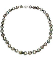 14k white gold & tahitian cultured pearl necklace/18""