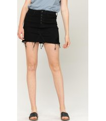 women's exposed button distressed mini denim skirt