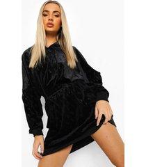 velours sweatshirt jurk met capuchon en b reliëf, black