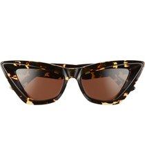 women's bottega veneta 53mm cat eye sunglasses - havana/ brown