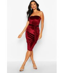 velvet bandeau belted midi dress, berry
