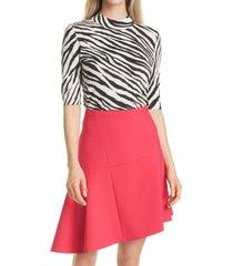 women's boss fabanna zebra virgin wool sweater, size x-large - black