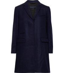 ft platform felt smart coat wollen jas lange jas blauw french connection