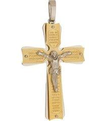pingente crucifixo grande tudo joias dourado de aço inox