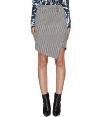 houndstooth print twisted mini skirt