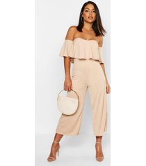 off the shoulder ruffle culotte jumpsuit, beige