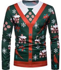 hombres camiseta navideña cuello redondo camisetas de manga larga estampado